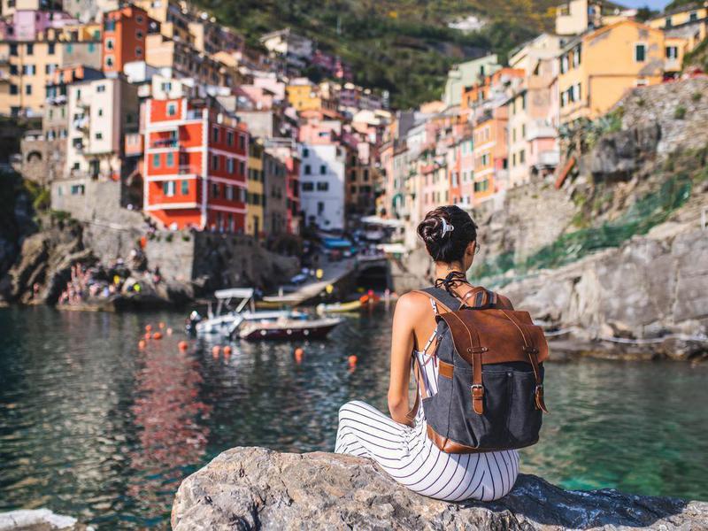 Traveler in Cinque Terre, Italy