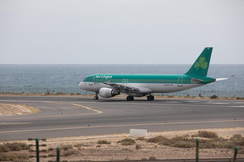 Aer Lingus ready to take off at Lanzarote Airport