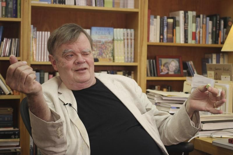 Garrison Keillor at his St. Paul, Minnesota, office
