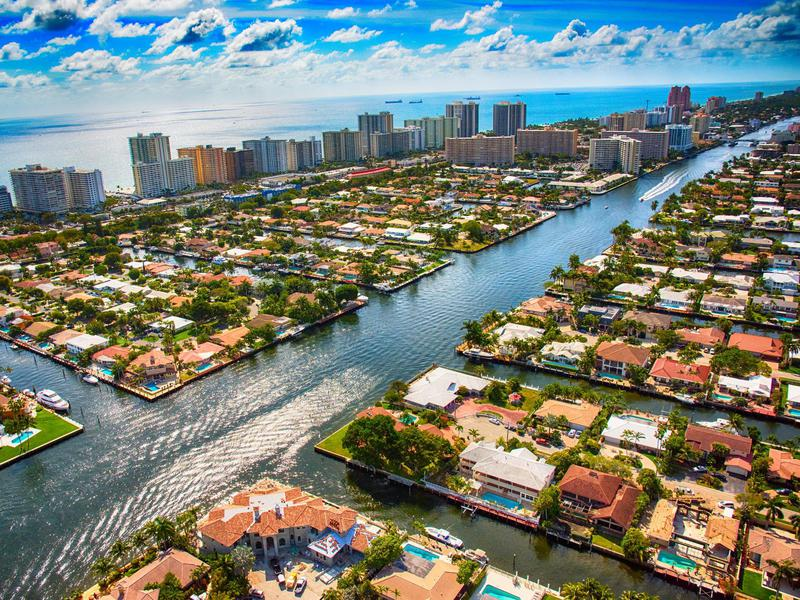 Pompano Beach and Fort Lauderdale Area From Above