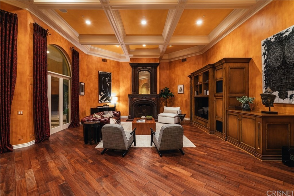 Coffered ceiling and hardwood floors