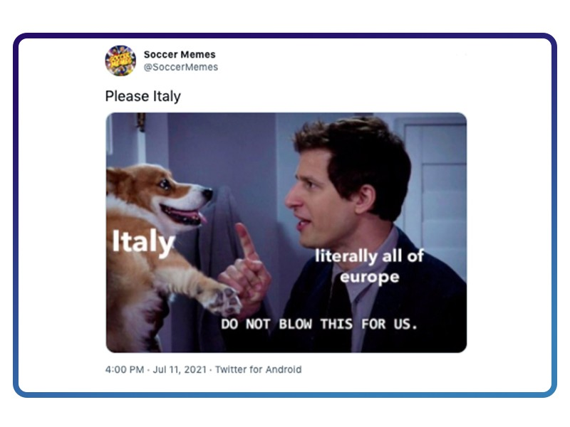 Meme about Italy needing to win match