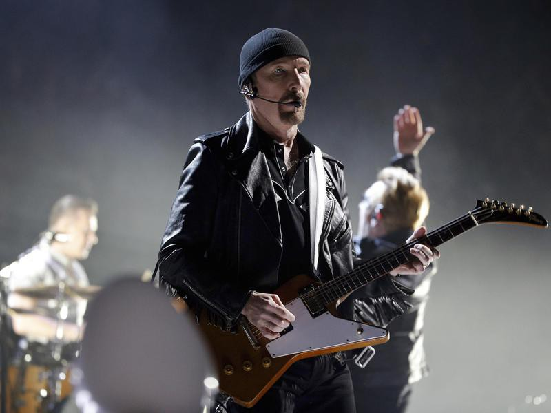 The Edge of U2 during a concert in Paris in 2015