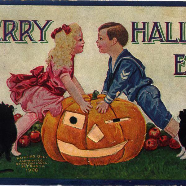 Merry Halloween. Vintage postcard. Printed in 1908.