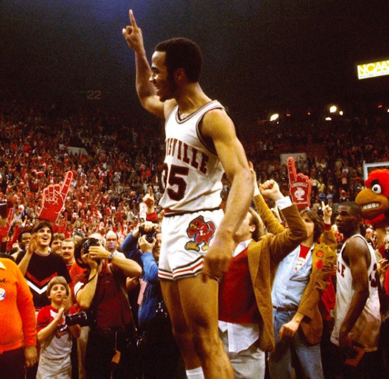 Darrell Griffith holds up #1 to the crowd