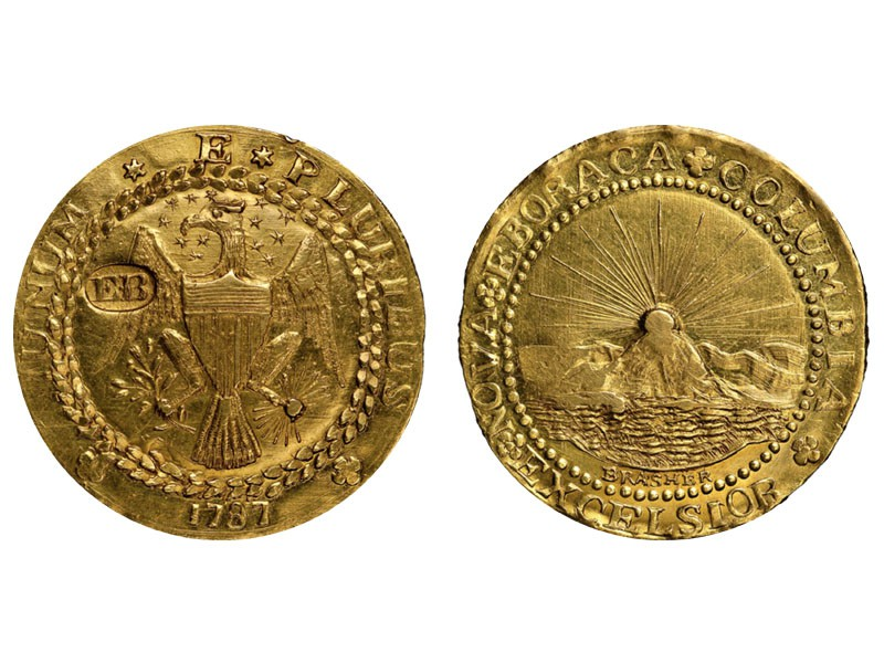 1787 Brasher Doubloon, EB Punch on Wing