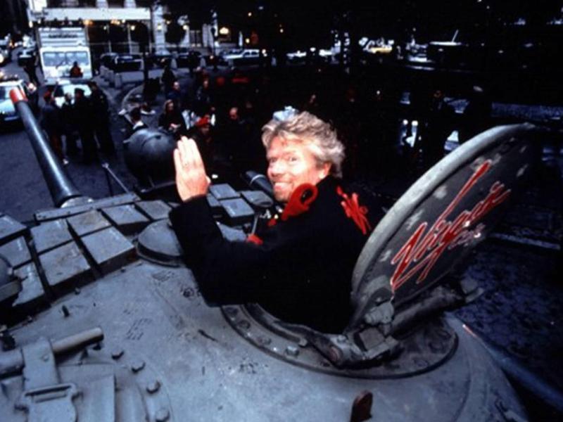Richard Branson's tank in Times Square