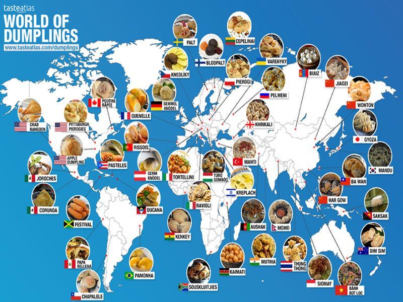 World map of dumplings