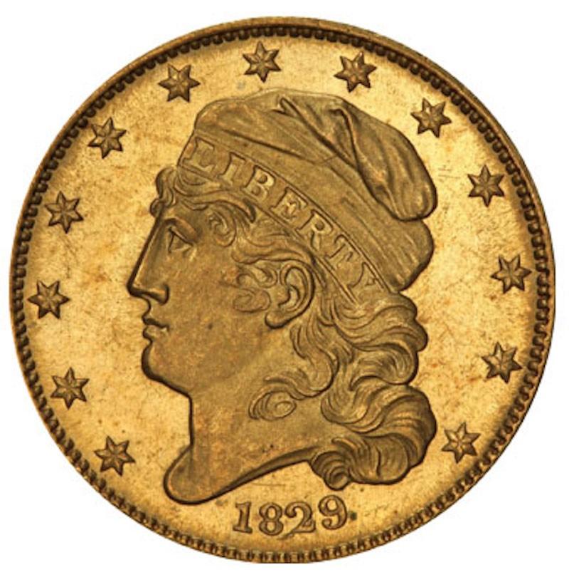 1829 Capped Head Left Half Eagle