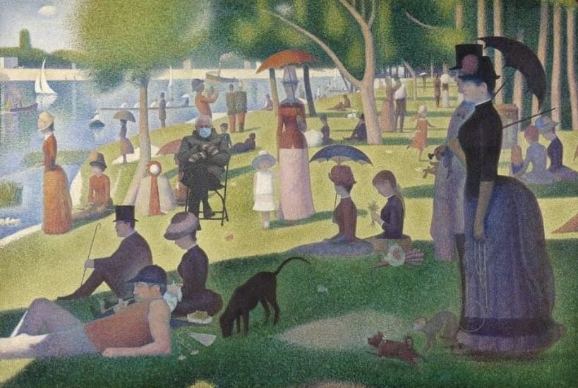 Bernie Sanders in A Sunday Afternoon painting by Georges Seurat