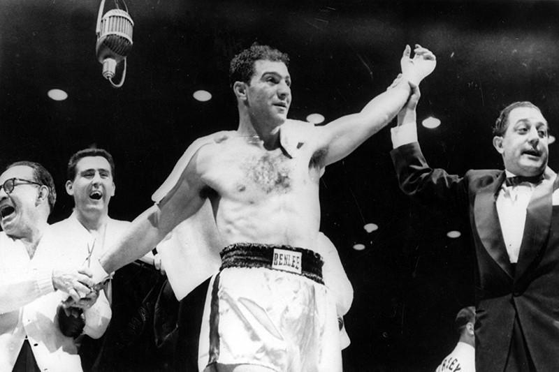 Rocky Marciano after knocking out Jersey Joe Walcott