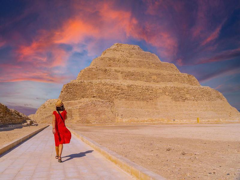 Stepped Pyramid of Djoser at sunset, Saqqara.