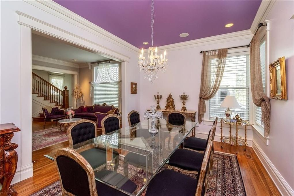 Room with purple ceiling