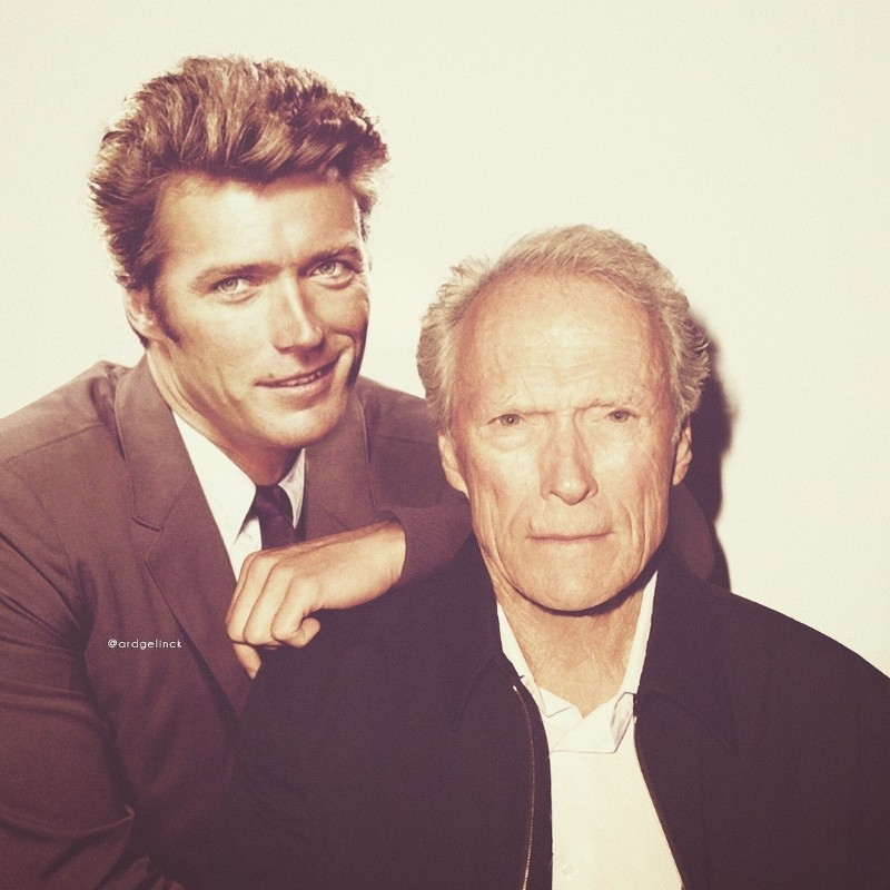 Clint Eastwood with his younger self