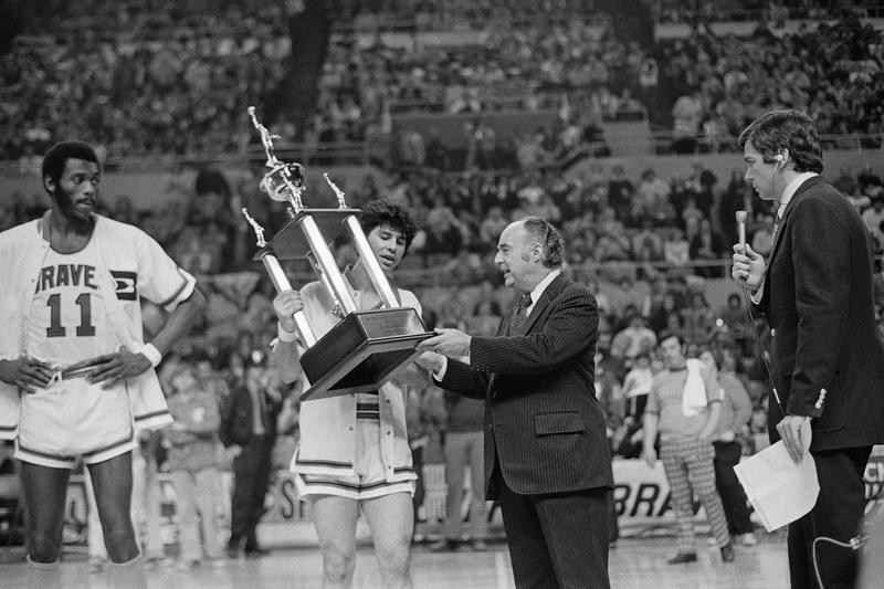 Ernie DiGregorio of the Buffalo Braves accepts the NBA's Rookie of the year trophy