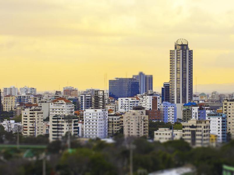 Sunset cityscape of Santo Domingo, Dominican Republic