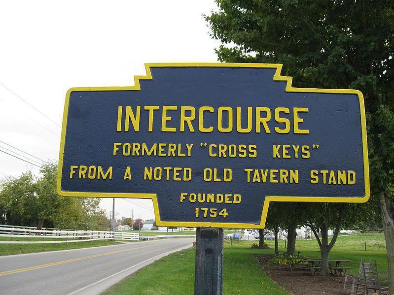 Road sign for Intercourse, Pennsylvania