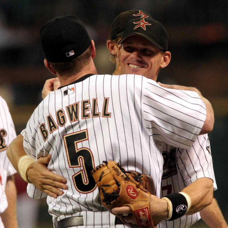 Craig Biggio hugs Houston Astro Jeff Bagwell after the Astros defeated the Toronto Blue Jays