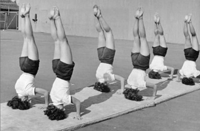 Vintage yoga headstands