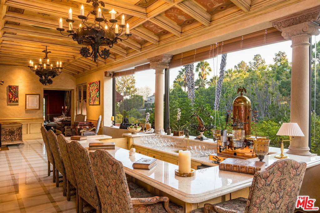 Dining area with chandeliers