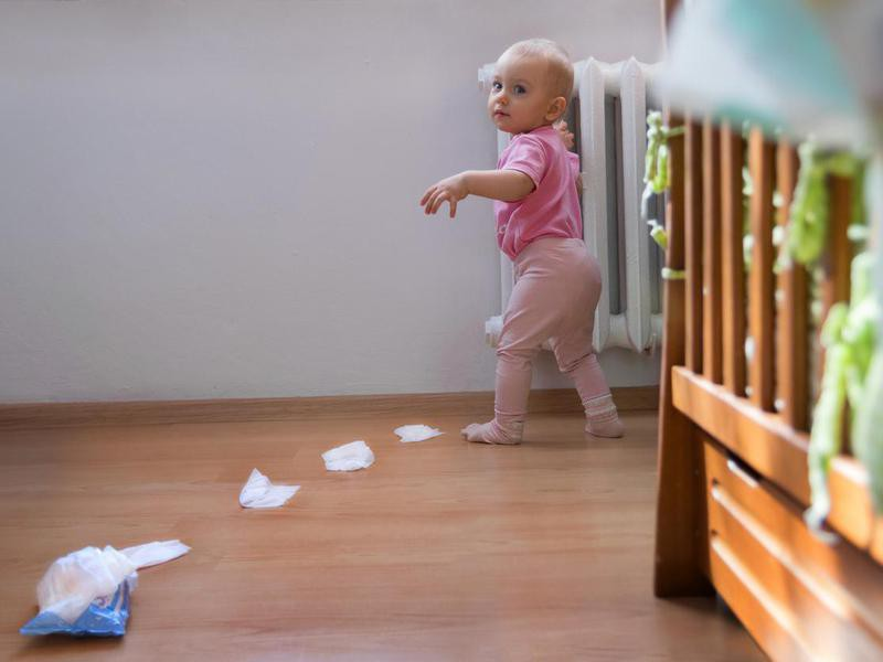 Baby with tissue box