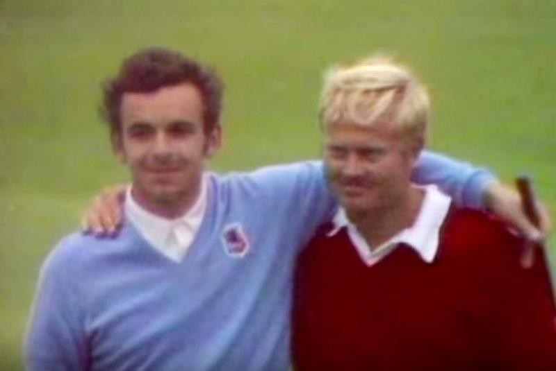 Jack Nicklaus and Tony Jacklin embrace at Ryder Cup