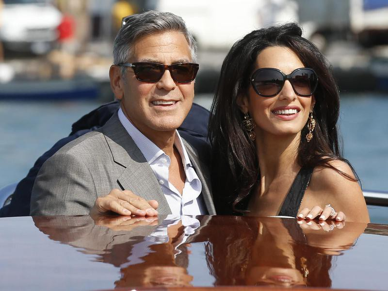 George Clooney and Amal Alamuddin arrive in Venice, Italy