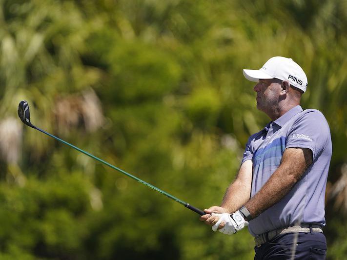 Stewart Cink watches his tee shot
