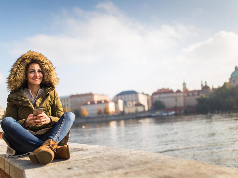 Woman on a bridge in Czech Republic