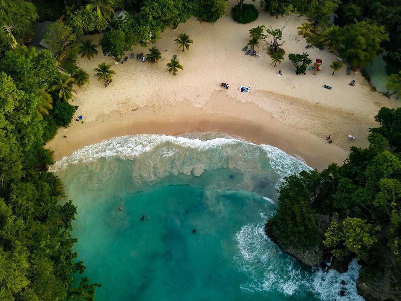 Aerial view of Port Antonio, Jamaica