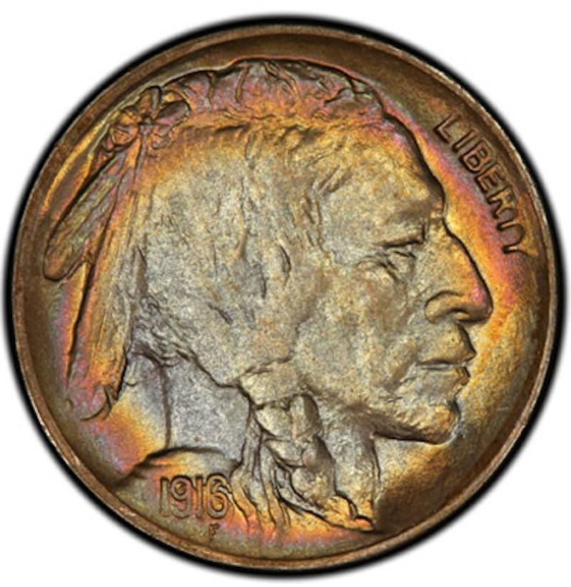 1916-D Buffalo Nickel — Doubled Die Obverse