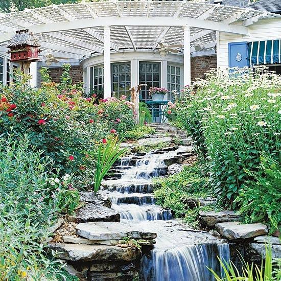 Sloping waterfall garden