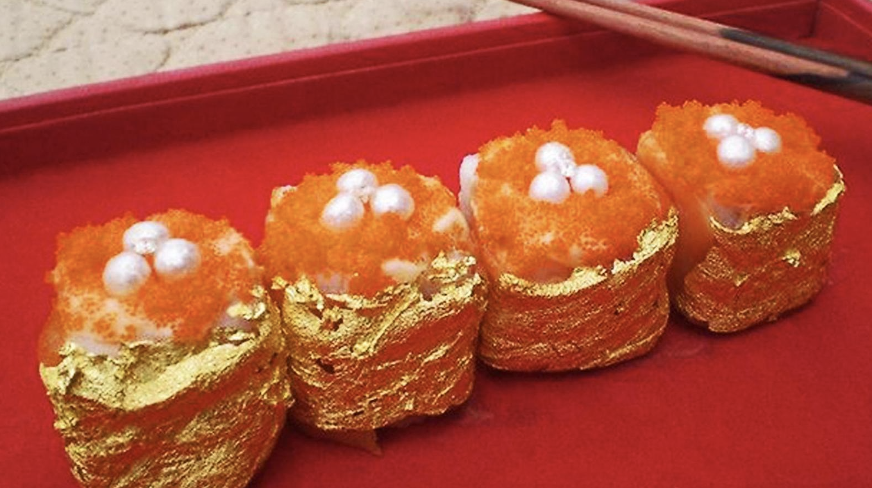 Sushi with gold