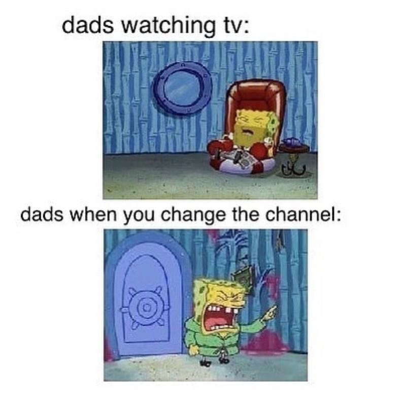 Dads watching TV meme