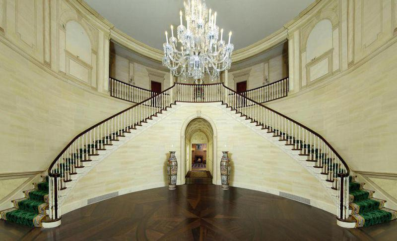 The post-Trump owners renovated, undoing many of the features they inherited. The walls along the staircase previously showcased a hand-painted countryside mural.