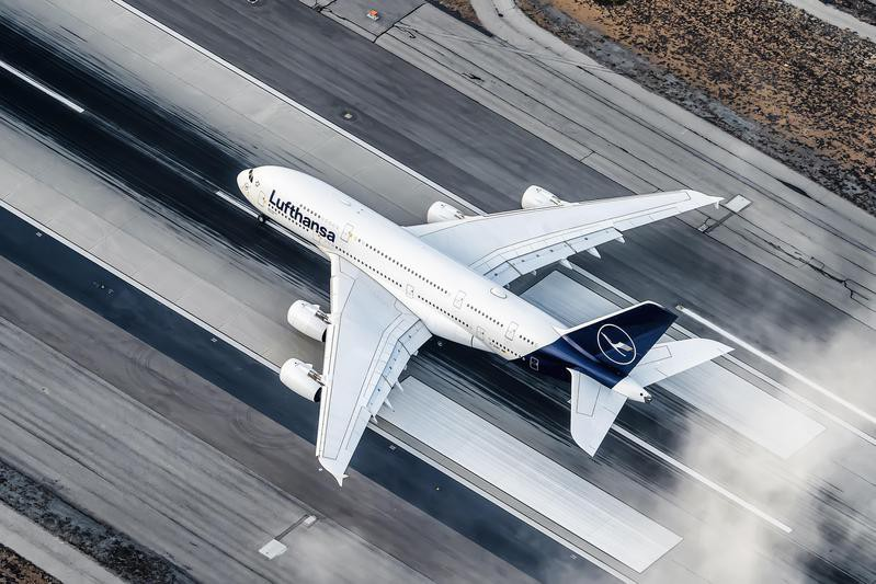 Aerial view of Lufthansa taking off