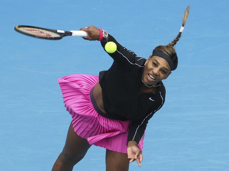 United States' Serena Williams serves