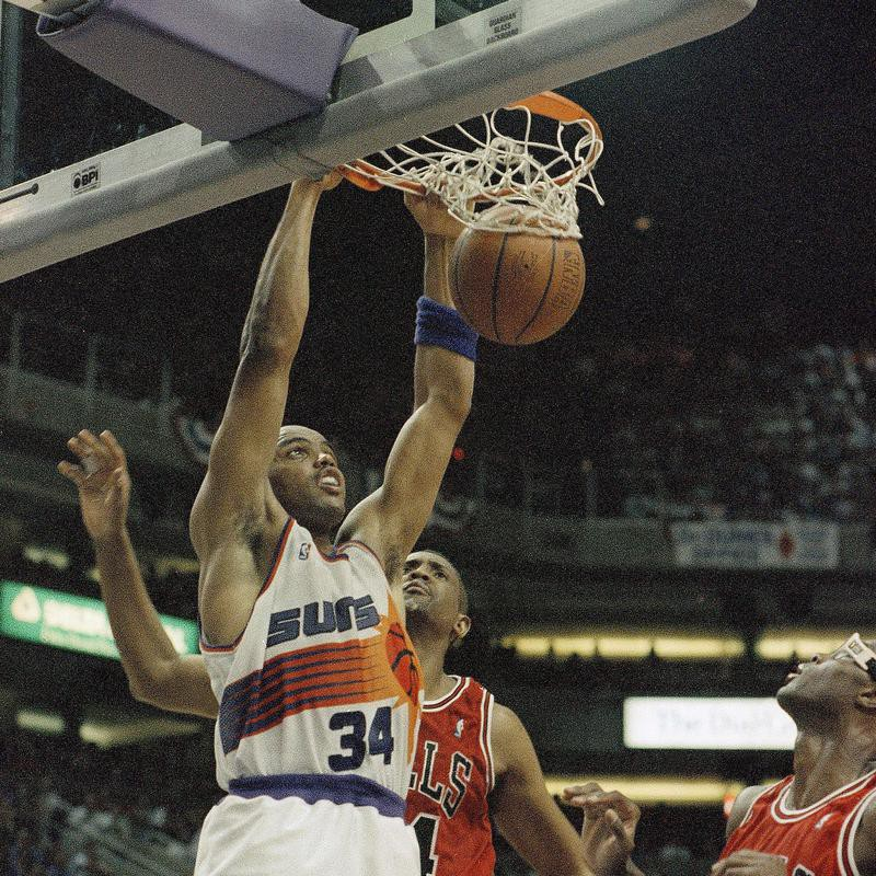 Phoenix Suns Charles Barkley slam dunks