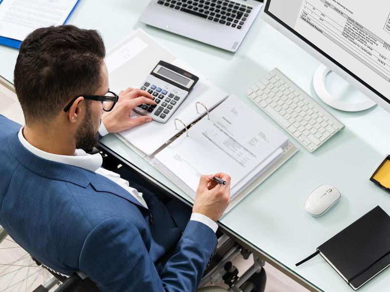 Accountant working at a desk