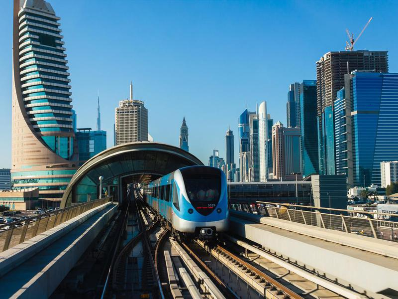 Dubai Metro. A view of the city from the subway car