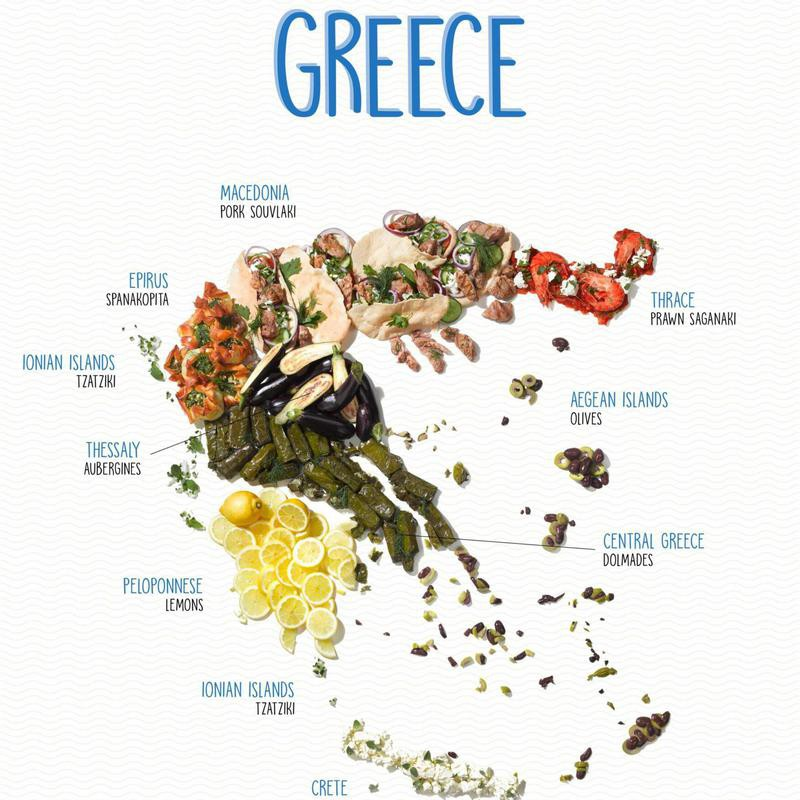 Food map of Greece