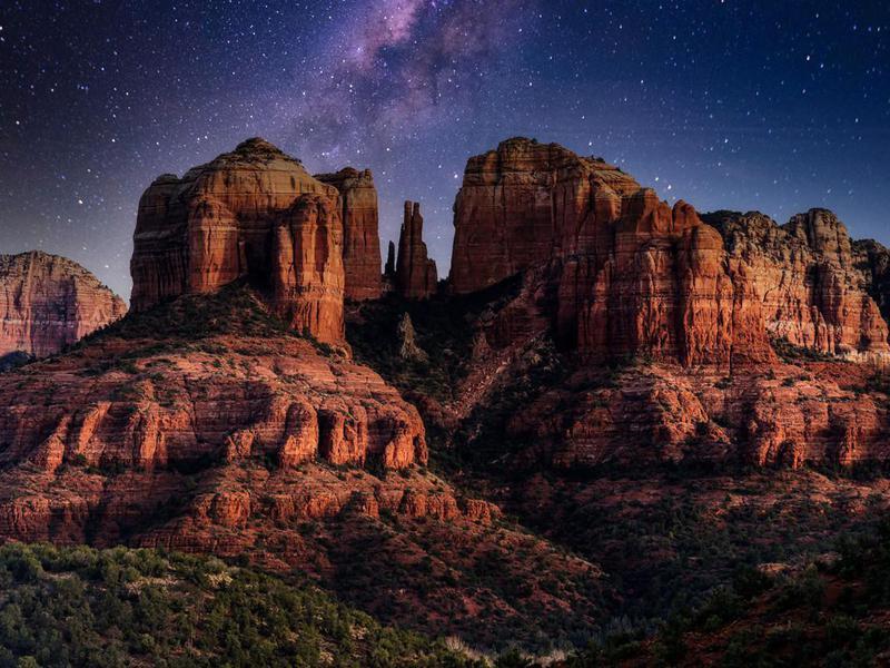 The Milky Way over Cathedral Rock near Sedona, Arizona