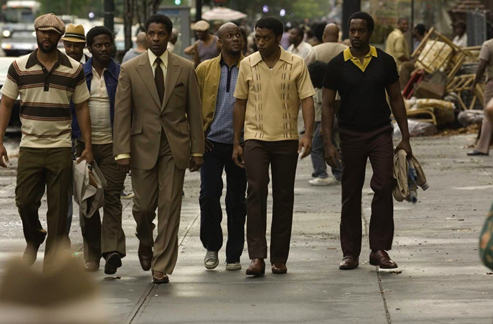 Denzel Washington, Chiwetel Ejiofor, and Common in American Gangster