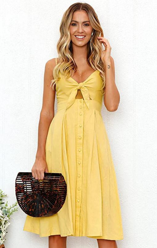 Ecowish Summer Tie Front V-Neck Spaghetti Strap Dress