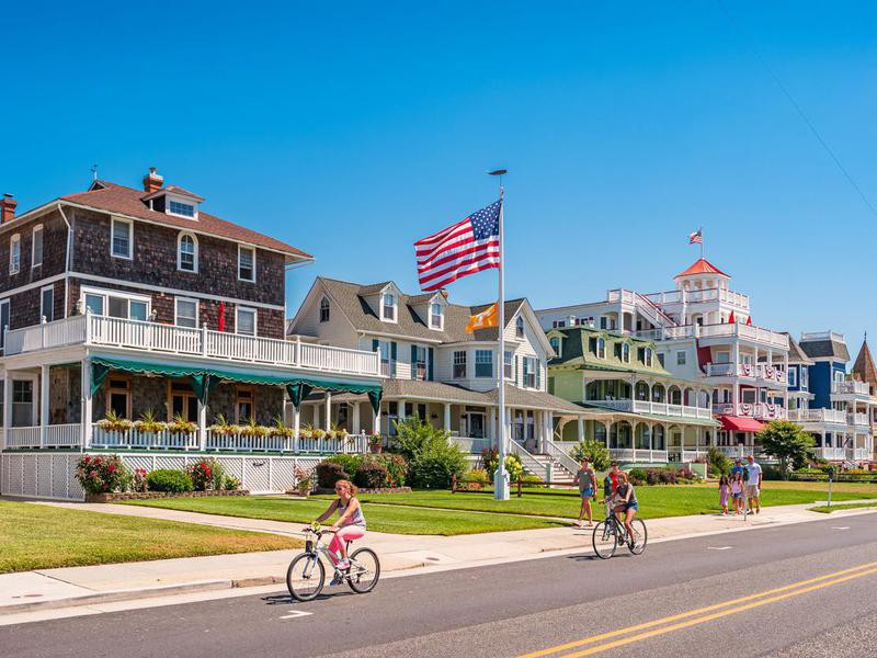 People riding bikes in Cape May, New Jersey
