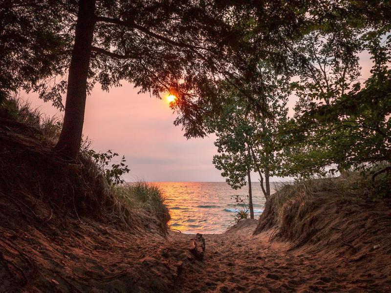Sunset on Lake Michigan at Saugatuck
