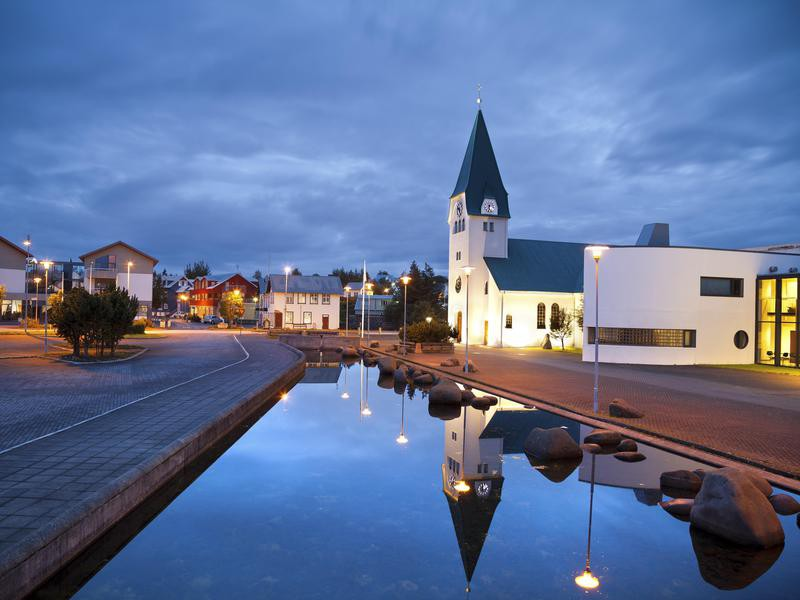 Churches in Reykjavik area at blue hour