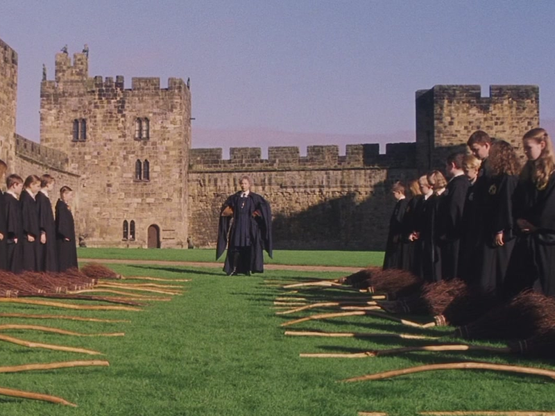 Hogwarts flying lesson, held on the grounds of the real Alnwick Castle.