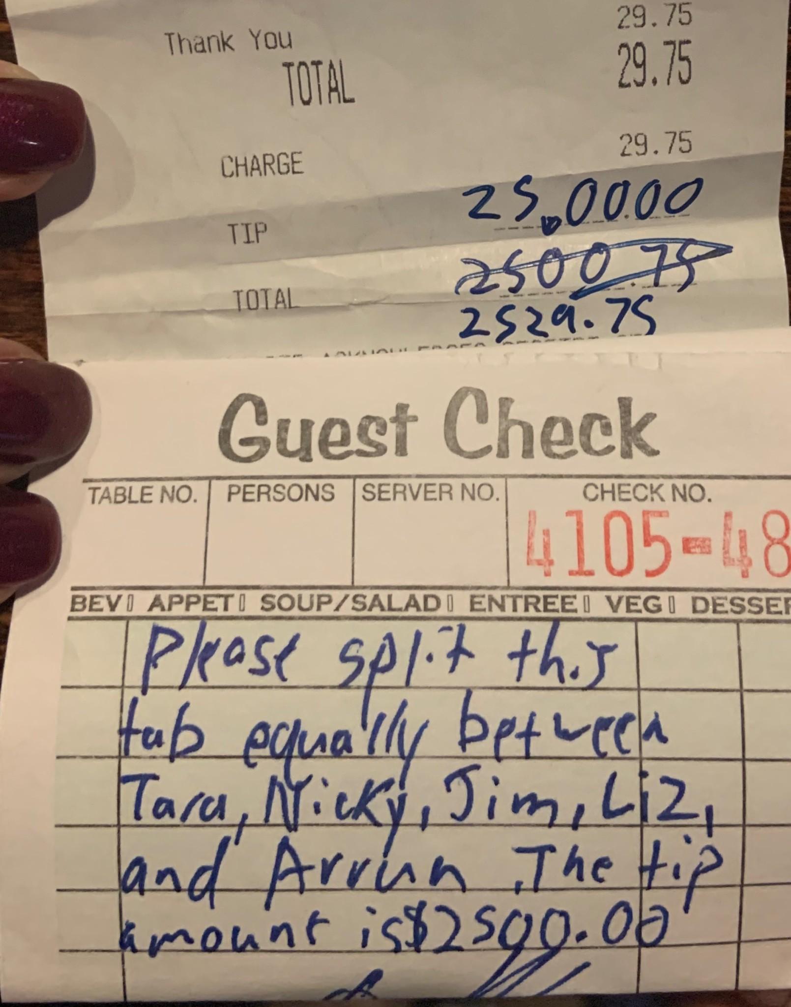 Huge restaurant tip