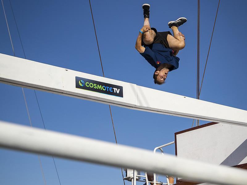 Krystian Kowalewski tucks legs in and jumps